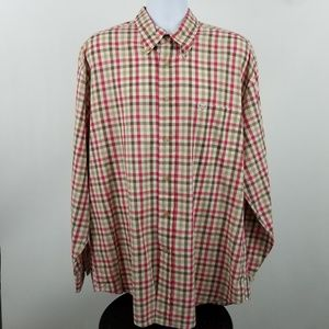 Faconnable Mens Red Brown Check Dress Shirt XL